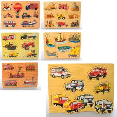 Деревянная игрушка Рамка-вкладыш MD 1306 с ручкой, 6 видов(транспорт), в кульке 30-21,5-1,5см