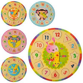 Деревянная игрушка Часы MD 1251 27см, рамка-вкладыш,5видов, в кульке