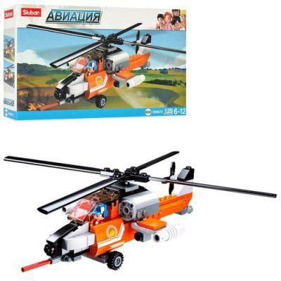 Конструктор SLUBAN M38-B0667D вертолет, фигурка, 129дет, в кор-ке 23,5-14-4,5см