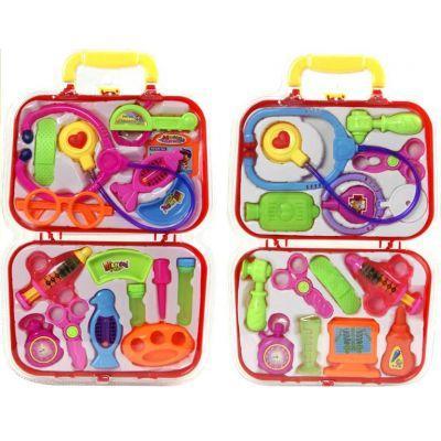 Доктор 616 (48шт/2) 2вида, стетоскоп, монитор, молоток, ножн, ванночки, бутылочки, в чемодан.26*42см
