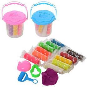 Тесто для лепки MK 2715 12цветов(в стиках),валик,аром,2формочки,2цв,в ведре 9-9-9см