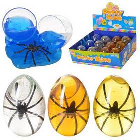 Насекомое- лизун 6083A в колбе(яйцо), паук, 12 шт (микс цветов) в дисплее 21-15,5-7 см