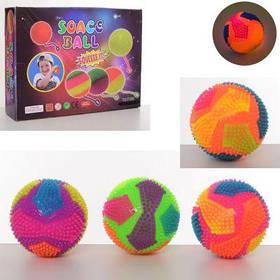 Мяч массажный MS 2392-1 пищалка, св,бат(таб),12 шт(4цв) в дисплее 30-23-8 см