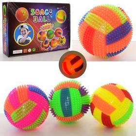 Мяч массажный MS 2392-15 пищалка, волейб,свет,бат (таб), 12 шт (4цв) в дисплее 30,5-22-8 см
