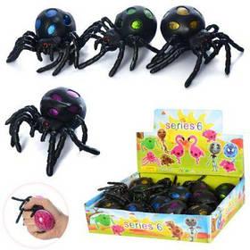 Игрушка MS 2065 паук14см, антистресс, виноград, глиттер, 12шт(4цвета) в дисплее 26-21-7см ( ЦЕНА ЗА БЛОК 12 ШТ)