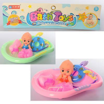 Пупс 308-B87  ванна 28 см, мочалка, круг для плавания, мыло, 2цв, в кульке 26-37-7см, фото 2
