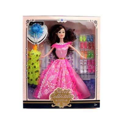 Кукла с нарядом 517B-1  платье, обувь, украшения, микс видов, в кор-ке 28-32,5-5 см