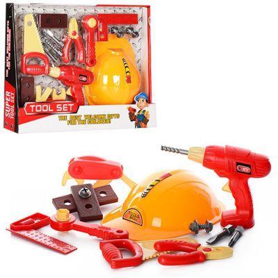 Набор инструментов 6608 каска, плоскогубцы, дрель (механич), уровень, в кор-ке 45-35-8 см
