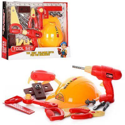 Набор инструментов 6608 каска, плоскогубцы, дрель (механич), уровень, в кор-ке 45-35-8 см, фото 2