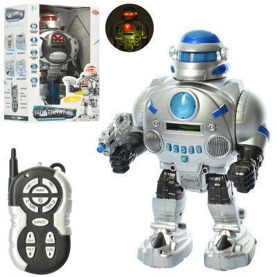 Робот 9895 р/у, 32 см, зв (англ), св, ездит,стреляет дисками, 2 цв,на бат,в кор-ке 33-21-12 см