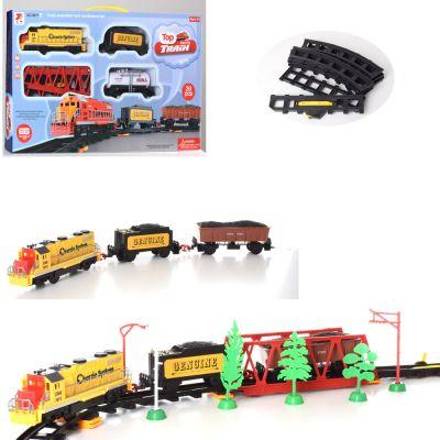 ЖД 3671ABC локомотив 20 см, вагон 2 шт, мост, звук, свет, 39 дет, 3 вида, на бат-ке, в кор-ке 55-32-6 см