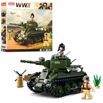 Конструктор SLUBAN M38-B0686 военный, танк, фигурки, 347 дет, в кор-ке 28,5-28,5-5,5 см