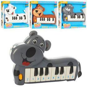 Пианино 889-8-11-13-17 собачка, 2 режима (муз,ноты), 4 вида, на бат-ке, в кор-ке 20-19-3,5 см