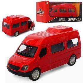 Автобус AS-2340 АвтоСвіт, металл, открыв. двери, резин. колеса, в кор-ке 16.5-7-7 см