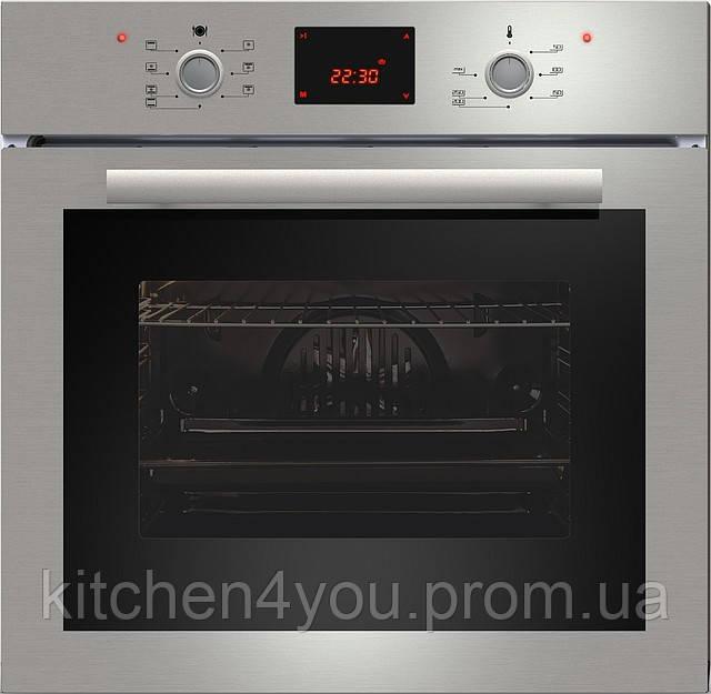 Sistema 107 (600 мм.) электрический, встраиваемый духовой шкаф цвет нержавеющая сталь / черное стекло