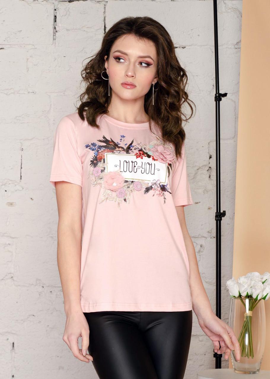 Красивая женская футболка с украшением 44-46 (в расцветках)