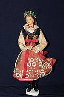 Кукла в национальном костюме 940085 польская кукла ручной работы с веночком на голове 24 см