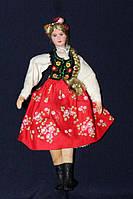 Кукла в национальном костюме 940120 польская кукла ручной работы в красной юбке 22 см