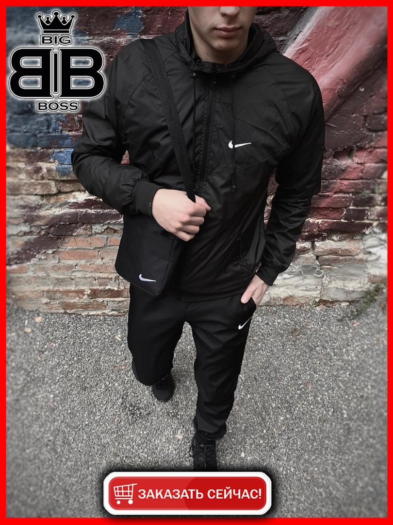 Мужская куртка не промокаемая ветровка с капюшоном Windbreaker, демисезонная (Черный)