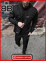 Мужская куртка не промокаемая ветровка с капюшоном Windbreaker, демисезонная (Черный), фото 1