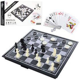 Шахматы 9888A магнитные, 3в1(шашки,карты), в кор-ке 24,5-12,5-4см