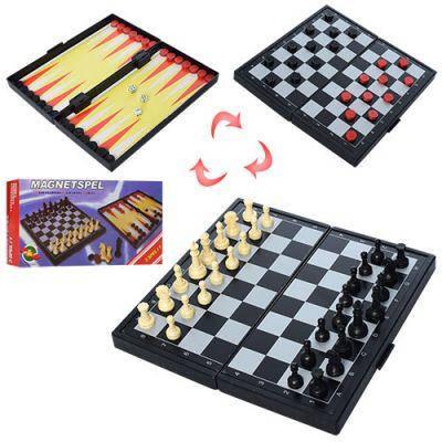 Шахматы THS-066 3в1, магнитные(шахматы), в кор-ке 19,5-10-3см, фото 2