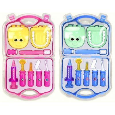 """Доктор """"Стоматолог"""" H008 (72шт/2) 2 вида, шприц, челюсть, щетка, аксес, в чемодане 23*20*5, 5 см"""