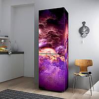 """Виниловая наклейка на холодильник """"Цветные облака""""."""