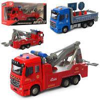 Машина AS-2378 АвтоСвіт, металл, инер-я, резин.колеса, 2 вида (пожарная/дорожные работы), в кор-ке 23-11,5-8,5 см
