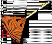 Грабли веерные - 27 зубцов, черенок деревянный, KT-CX27W
