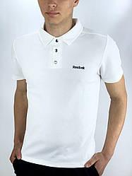 Футболка Поло Чоловіча біла в стилі Reebok (Рібок) в розмірі S(46) M(48) L (50) XL(52) XXL (54)
