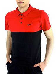 Футболка Поло Чоловіча чорна-червона в стилі Nike (Найк) в розмірі S(46) M(48) L (50) XL(52) XXL (54)