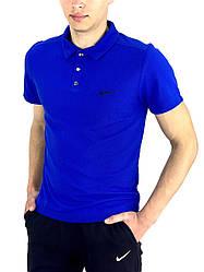 Футболка Поло Чоловіча синя в стилі Nike (Найк) в розмірі S(46) M(48) L (50) XL(52) XXL (54)