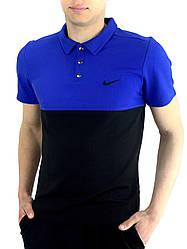 Футболка Поло Чоловіча чорна-синя в стилі Nike (Найк) в розмірі S(46) M(48) L (50) XL(52) XXL (54)