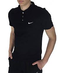 Футболка Поло Чоловіча чорна в стилі Nike (Найк) в розмірі S(46) M(48) L (50) XL(52) XXL (54)