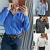Р 42-46 Блузка - сорочка в дрібну смужку 21329