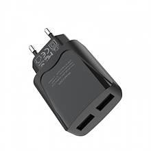Сетевое Зарядное Устройство Hoco C52A (2Usb, 2.1A) Black