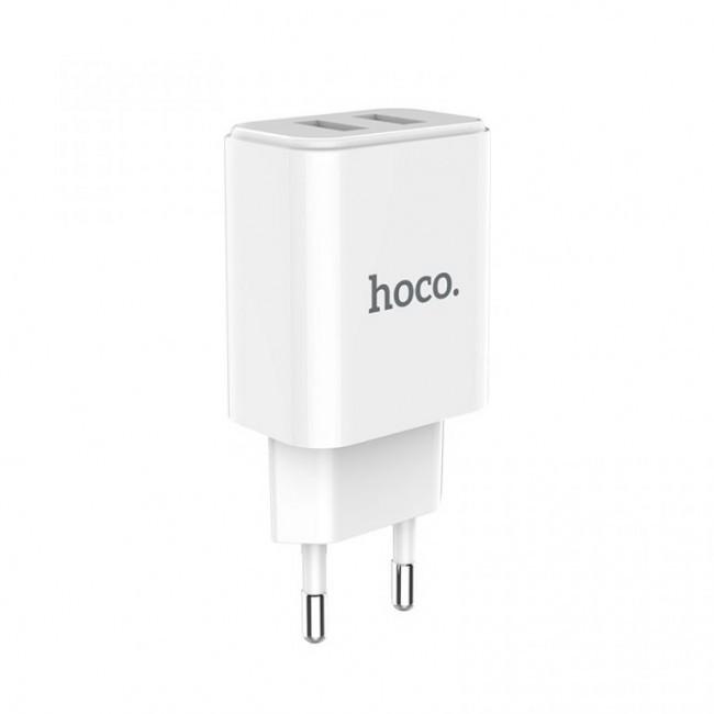 Мережевий зарядний пристрій Hoco C62A Victoria (2USB, 2.1 А) White