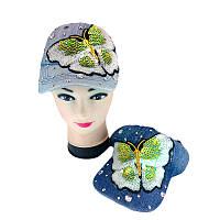 Кепка для девочки размер - 52 (принт - бабочка с паетками)