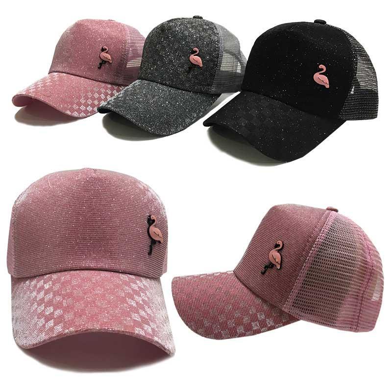 Кепка для девочки с брошкой Фламинго (размер 54-56) 3 цвета
