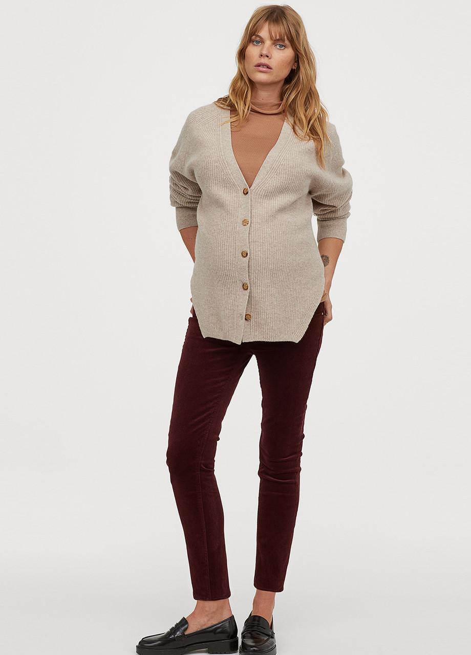 Бордовые демисезонные зауженные брюки H&M
