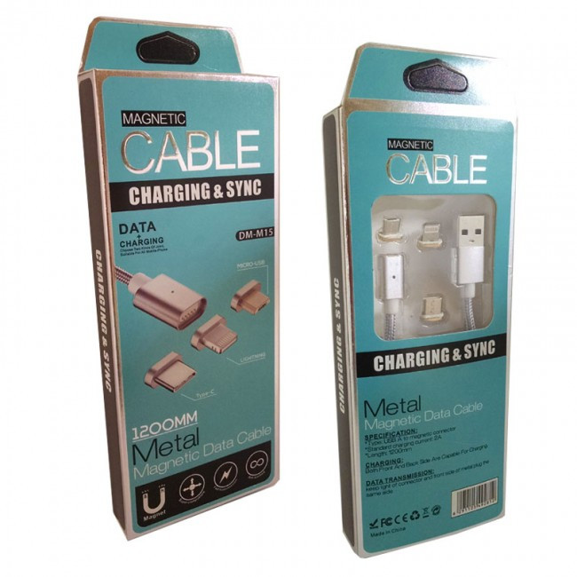 Кабель Usb Cable Magnetic Braid 3In1 (Lightning, Microusb, Type-C), Silver