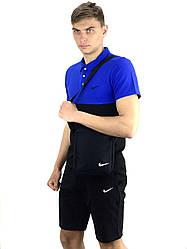 Чоловічий річний комплект шорти і футболка поло Nike (Найк) чорна-синя + Барсетка