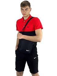 Чоловічий річний комплект шорти і футболка поло Nike (Найк) чорна-червона+Барсетка