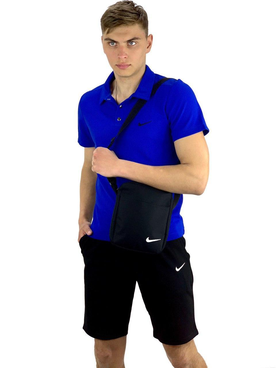 Мужской летний комплект шорты и футболка поло Nike (Найк) синяя + Барсетка