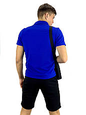 Мужской летний комплект шорты и футболка поло Nike (Найк) синяя + Барсетка, фото 2