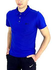 Мужской летний комплект шорты и футболка поло Nike (Найк) синяя + Барсетка, фото 3