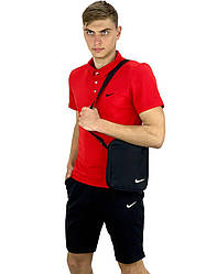 Чоловічий річний комплект шорти і футболка поло Nike (Найк) червона + Барсетка