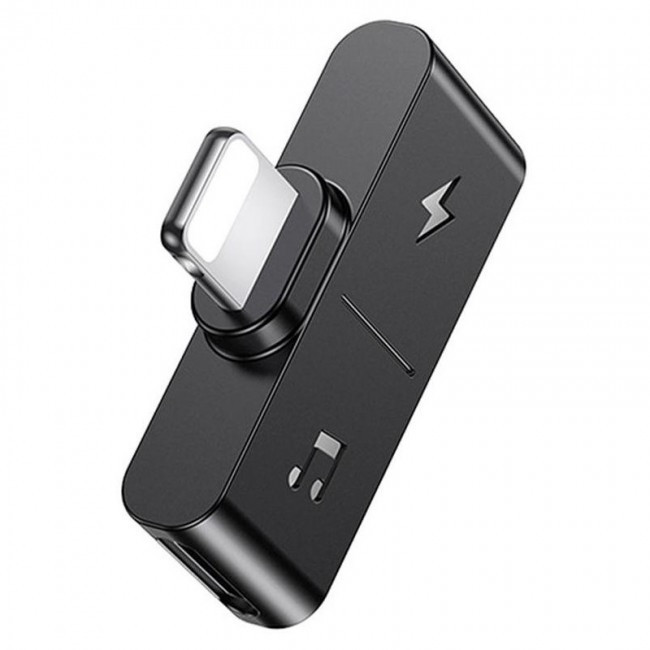 Переходник Usams Us-Sj384 Au12 (Dual Lightning) Charging And Audio Adapter Black