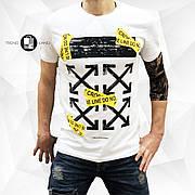 Мужкая футболка в стиле Off-White Classic White\Yellow